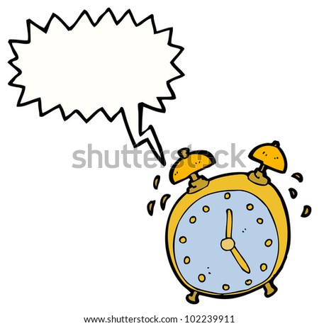 cartoon ringing alarm clock - stock photo