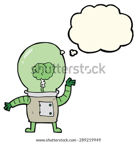 cartoon robot cyborg with thought bubble - stock photo