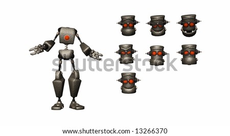 cartoon robot with selection of heads