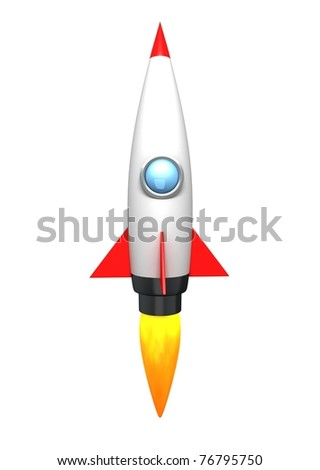 Cartoon Rocket - stock photo