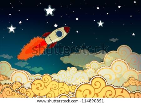 Cartoon rocket flying to the stars - stock photo
