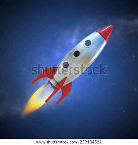 cartoon rocket space ship - stock photo
