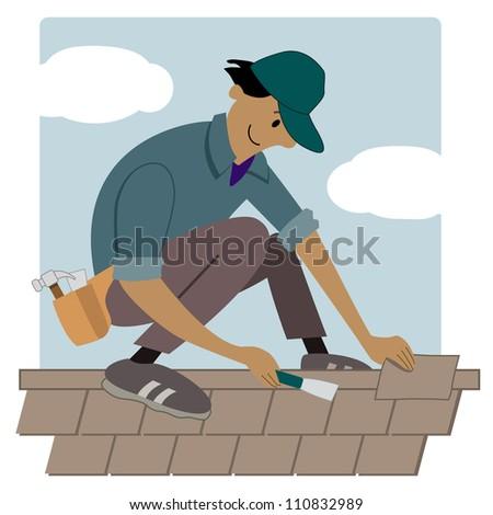 Cartoon roofing worker putting shingles on a roof  sc 1 st  Shutterstock & MyCartoonArtistu0027s Portfolio on Shutterstock memphite.com
