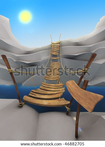 Cartoon rope bridge - stock photo