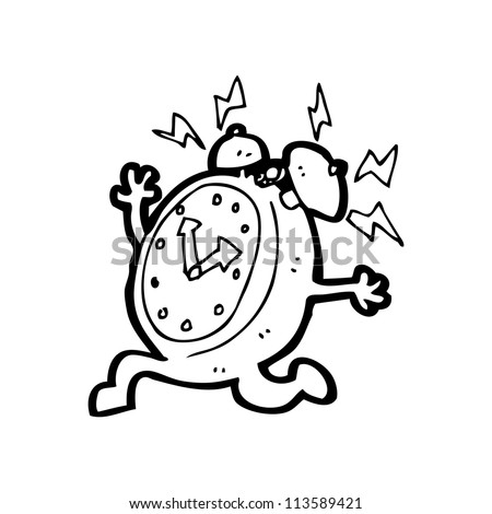 cartoon running alarm clock - stock photo