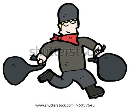 Cartoon Thief Running Cartoon Running Bank Robber