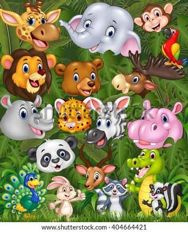 Cartoon safari animals with forest background - stock photo