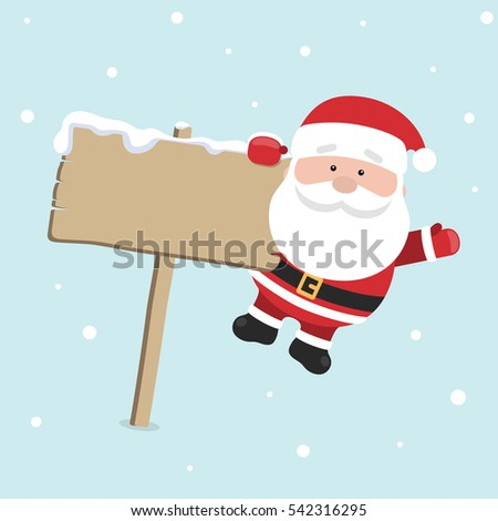 Cartoon Santa Claus for Your Christmas and New Year greeting Design or Animation. Illustration of happy Santa Claus hanging on signboard in colorful flat style on blue background.