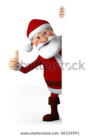 Cartoon Santa Claus giving thumbs up from behind a blank sign - high quality 3d illustration - stock photo