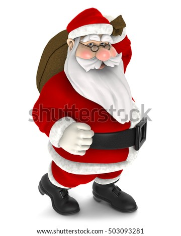 cartoon Santa claus holding bag with presents, decoration for Christmas greetings card, web, advert - 3D rendering