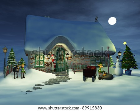 Cartoon Santa Claus keeping an eye on his elves that are preparing the sledge. One elf is getting - stock photo