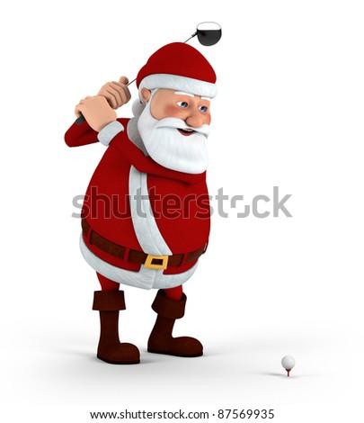 Cartoon Santa Claus plays golf - high quality 3d illustration - stock photo