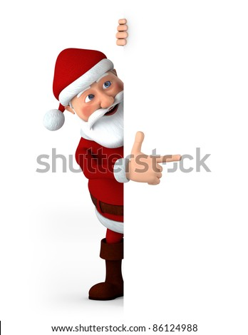 Cartoon Santa Claus pointing at something from behind a blank sign - high quality 3d illustration