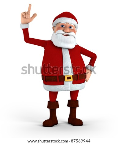 Cartoon Santa Claus pointing up - high quality 3d illustration