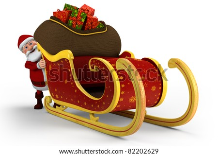 Cartoon Santa Claus pushing his sleigh - on white background - high quality 3d illustration - stock photo
