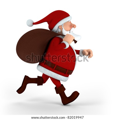 Cartoon Santa Claus running with sack on white background - high quality 3d illustration - stock photo