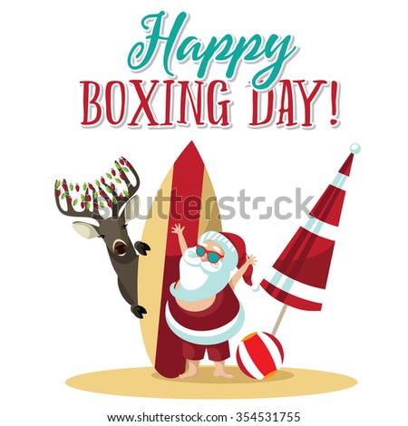 Cartoon Santa Claus waves hello from the beach to wish you a Happy Boxing Day.  - stock photo