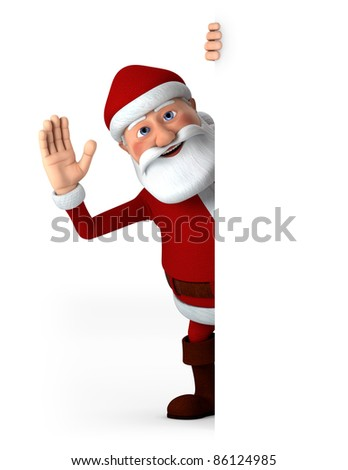 Cartoon Santa Claus waving from behind a blank sign - high quality 3d illustration