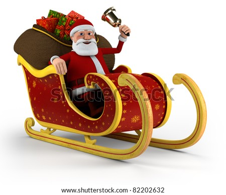 Cartoon Santa Claus with bell sitting in his sleigh - on white background - high quality 3d illustration - stock photo