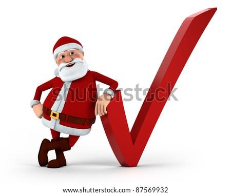 Cartoon Santa Claus with check mark - high quality 3d illustration - stock photo