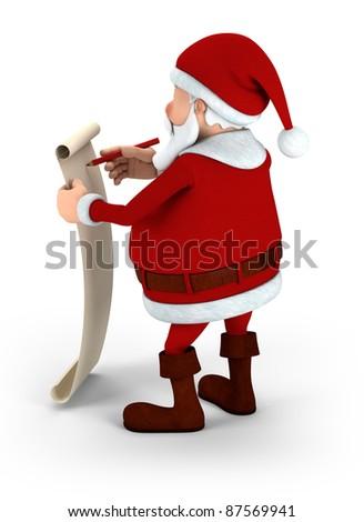 Cartoon Santa Claus writing on list - high quality 3d illustration - stock photo