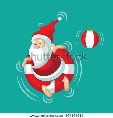 Cartoon Santa Relaxing Inner Tube On Stock Vector