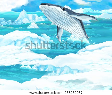 Cartoon scene - arctic animals - whale - illustration for the children - stock photo