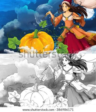 Cartoon scene for different fairy tales - illustration for children - stock photo