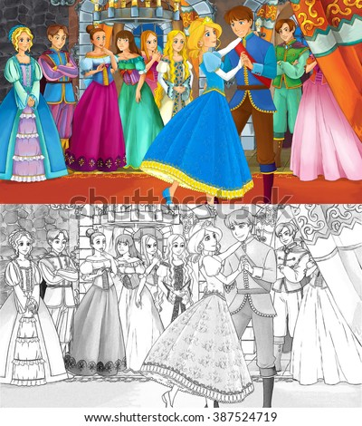 Cartoon scene for different fairy tales - with additional coloring page - loving couple is dancing in the ballroom - illustration for children - stock photo
