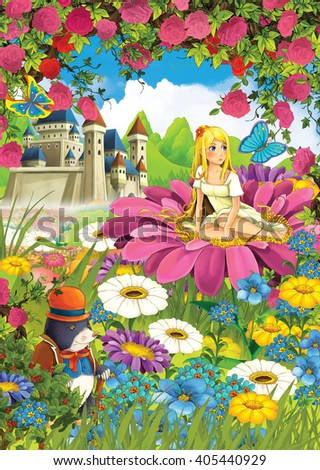 Cartoon scene of a girl on the flower - castle in the background - stock photo