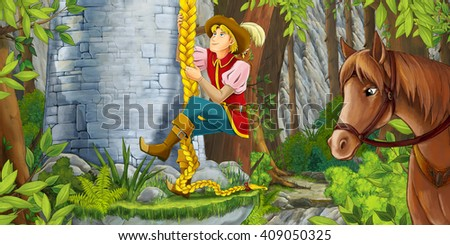 Cartoon scene of an old woman watching like a nobleman is climbing on the tower - illustration for children - stock photo
