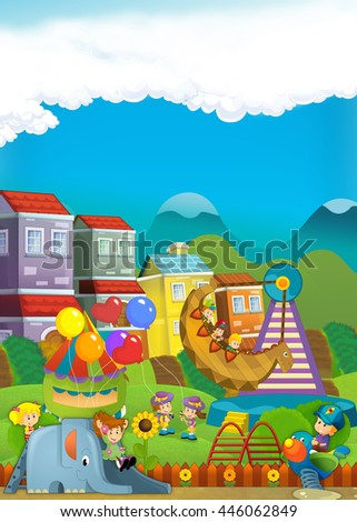 Cartoon scene of kids playing in the playground - illustration for children
