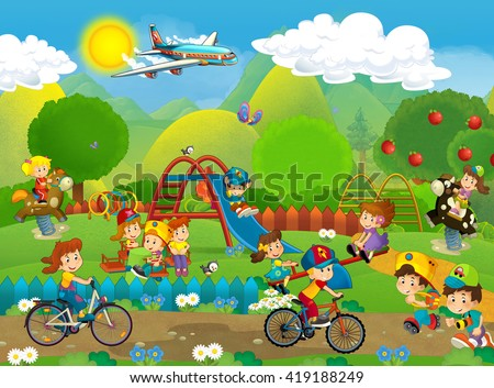 Cartoon scene of kids playing on the playground - having fun - illustration for children - stock photo
