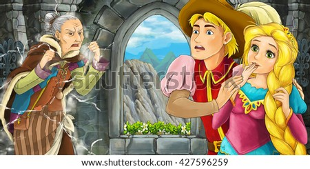 Cartoon scene of medieval interior - inside old witch getting nervous and royal couple - illustration for children - stock photo