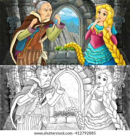 Cartoon scene with beautiful young girl and old woman talking - with coloring page -  illustration for children - stock photo