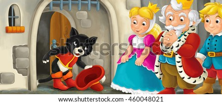 Cartoon scene with cat greeting royal pair by the castle - illustration for the children