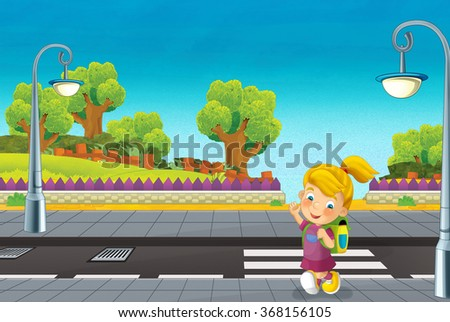 Cartoon scene with child walking on the street - illustration for the children