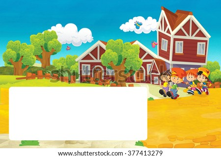 Cartoon scene with children going near school - with frame - illustration for the children