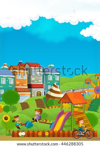 Cartoon scene with children having fun at the playground - illustration for children