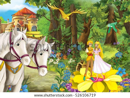 Cartoon scene with cute royal charming couple on the flowers in the forest - beautiful manga girl - illustration for children