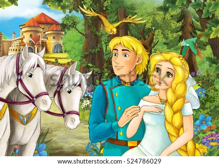 Cartoon scene with cute royal charming couple on the meadow - beautiful manga girl - illustration for children