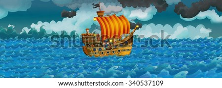 Cartoon scene with old ship sailing during night - stormy weather - illustration for the children - stock photo