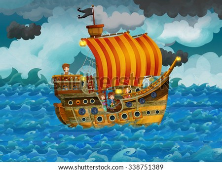 Cartoon scene with old ship sailing during storm - illustration for the children - stock photo