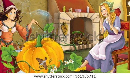 Cartoon scene with poor girl and princess sorceress - illustration for the children - stock photo