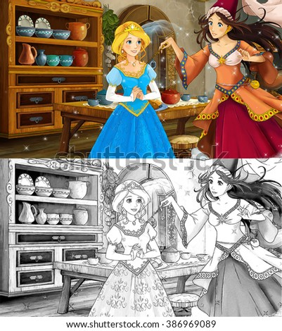 Cartoon scene with poor girl and princess sorceress - with coloring page - illustration for the children - stock photo