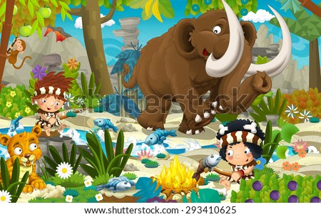 Cartoon scene with prehistoric mammoth - illustration for the children - stock photo