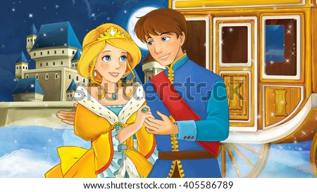 Cartoon scene with prince and princess - illustration for children - stock photo