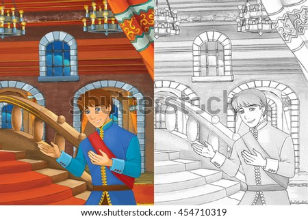 Cartoon scene with prince finding golden shoe on the stairs - good looking manga man - with coloring page - illustration for children