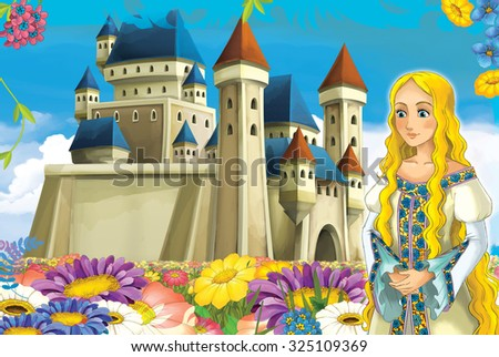 Cartoon scene with princess and fairies - illustration for the children - stock photo