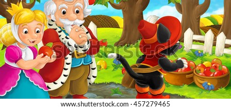 Cartoon scene with royal pair and cat traveler visiting apple garden during beautiful day - illustration for children